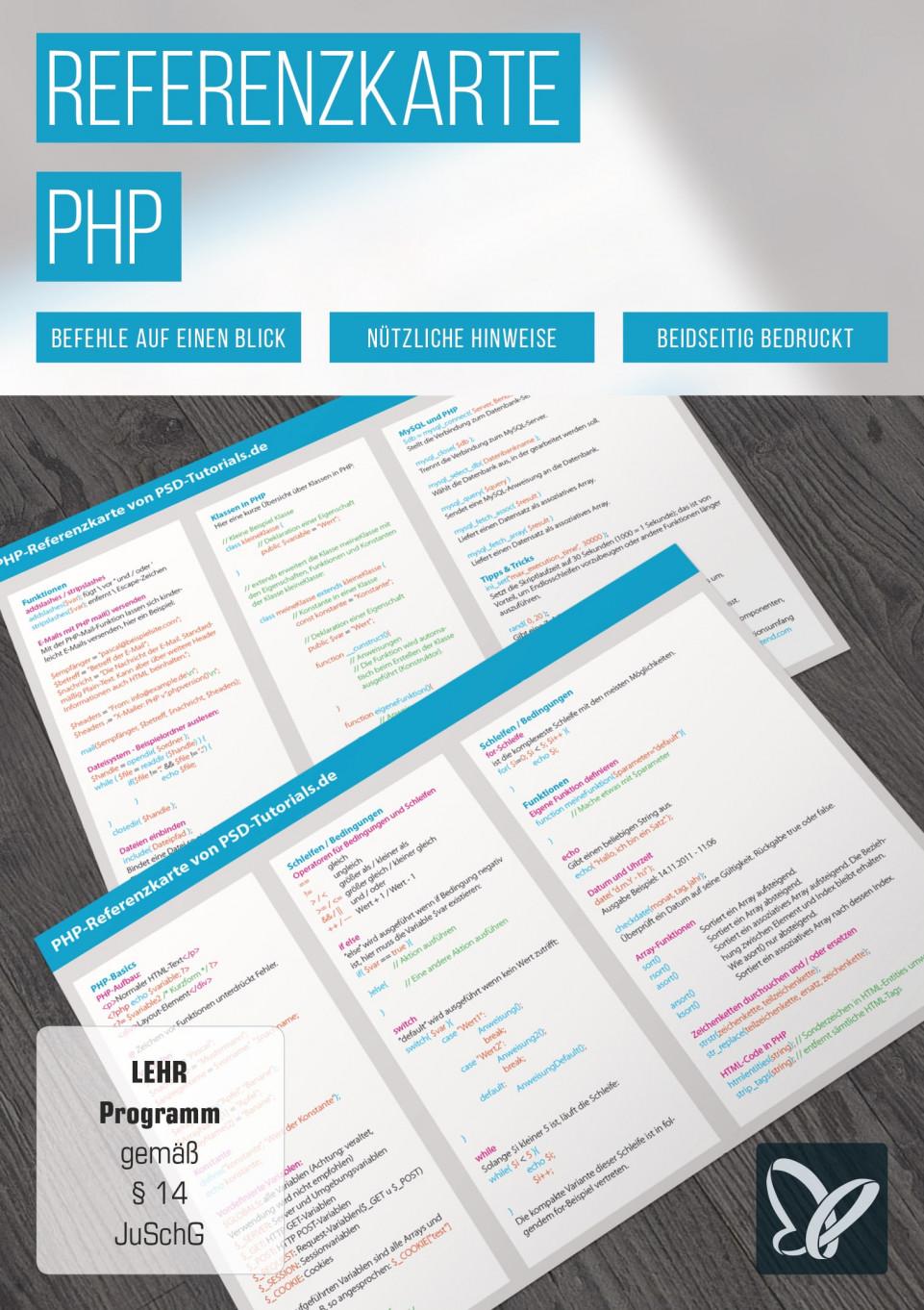 Tastaturkürzel: PHP-Referenzkarte
