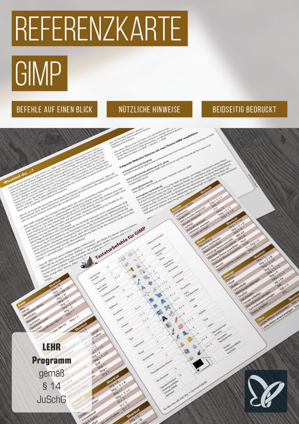 Tastaturkürzel: GIMP-Referenzkarte