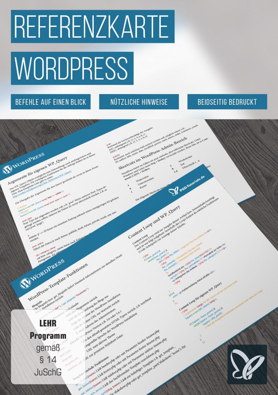 Tastaturkürzel: WordPress-Referenzkarte