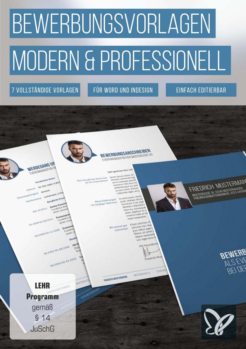 Moderne Bewerbungsvorlagen Mit Deckblatt Anschreiben Und