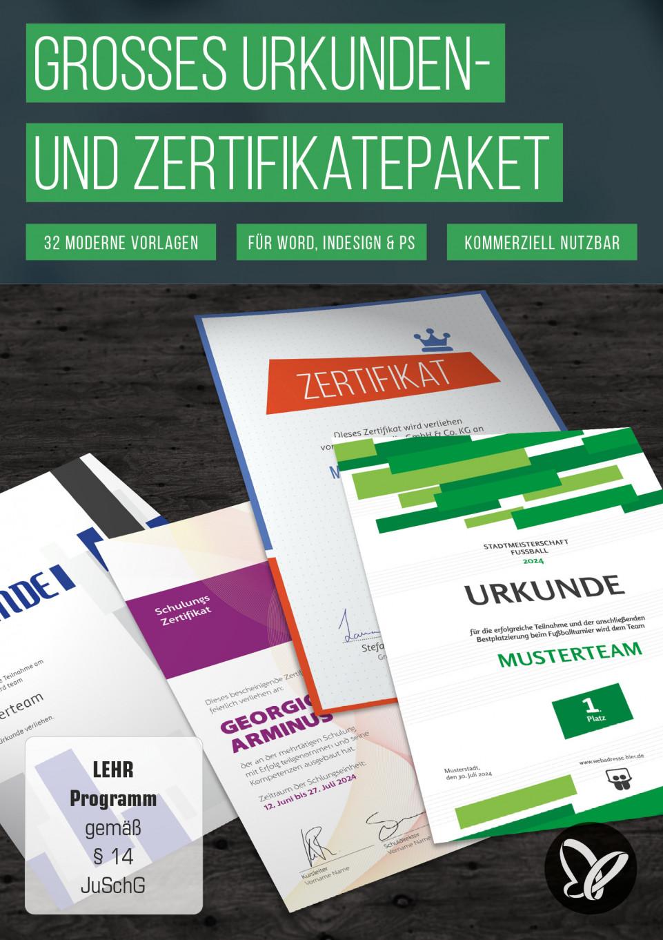 Urkunden & Zertifikate: Vorlagen zum Gestalten und Ausdrucken