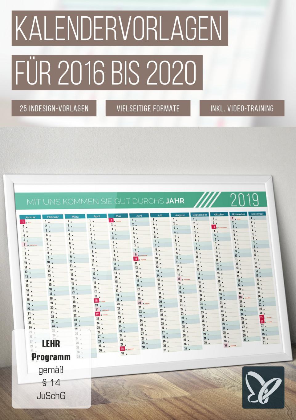 Umfassendes Paket mit Kalendervorlagen 2016 bis 2020
