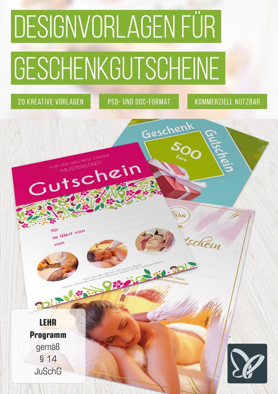 Vorlagen Geschenk-Gutscheine für Word und Photoshop
