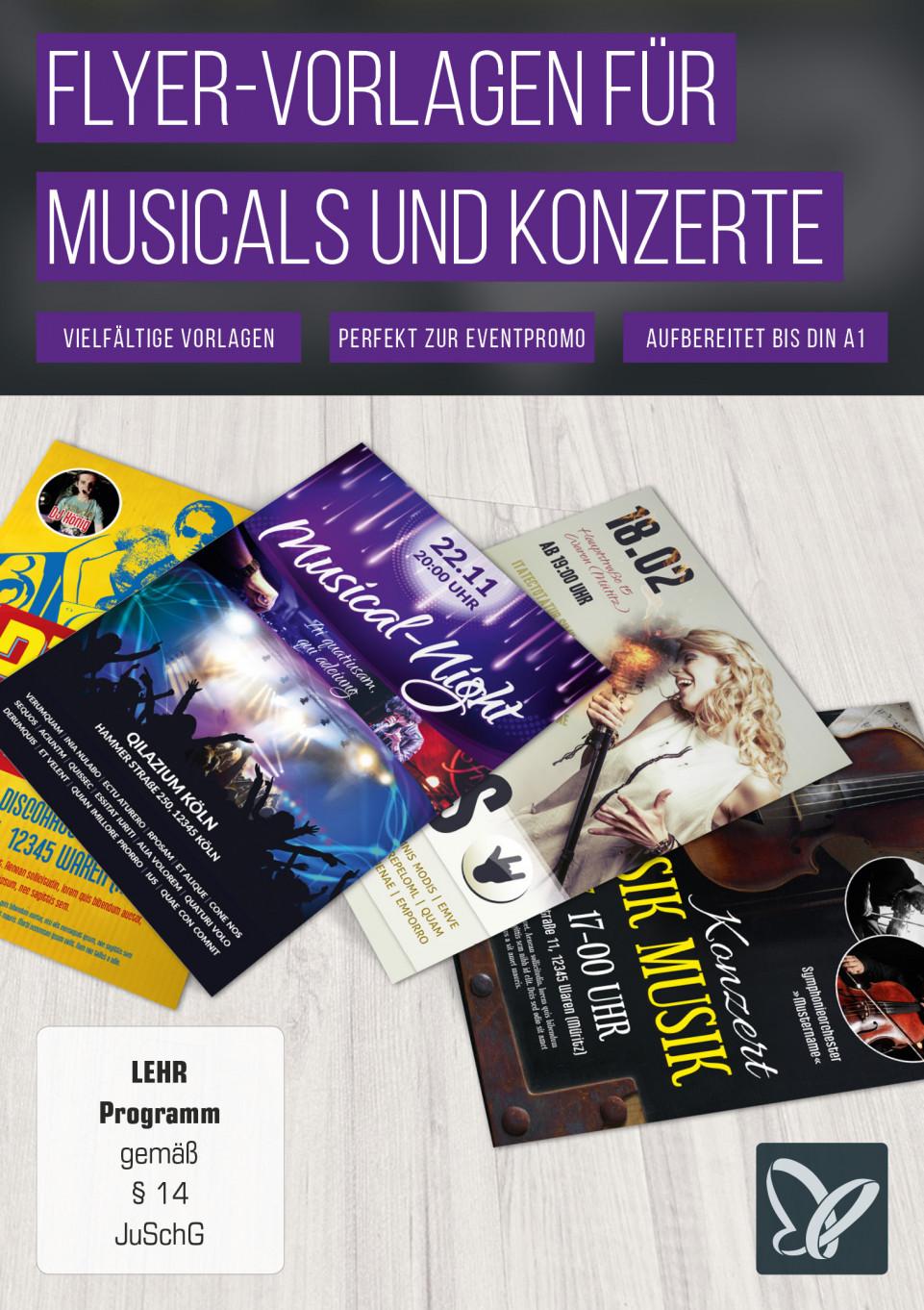 Flyer-Vorlagen für Konzerte, Discos und Musicals
