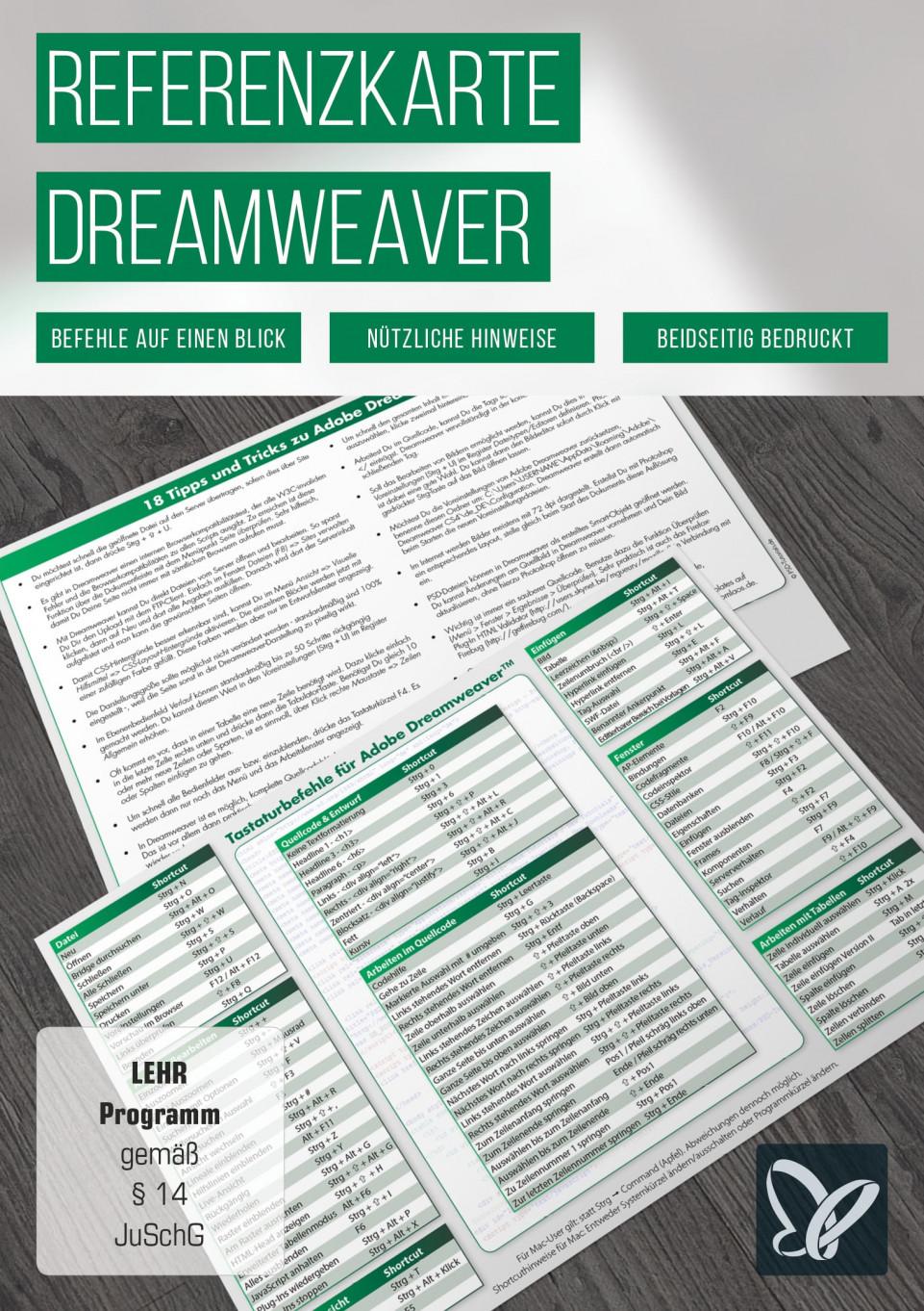 Tastaturkürzel: Dreamweaver-Referenzkarte
