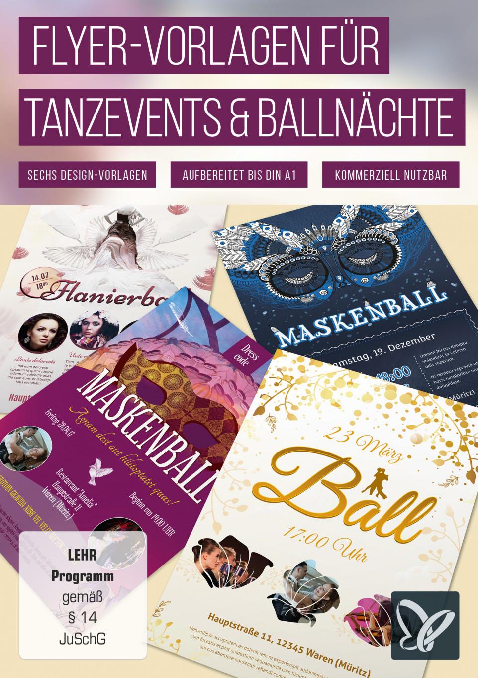 Flyer-Vorlagen für Tanzevents und Ballnächte