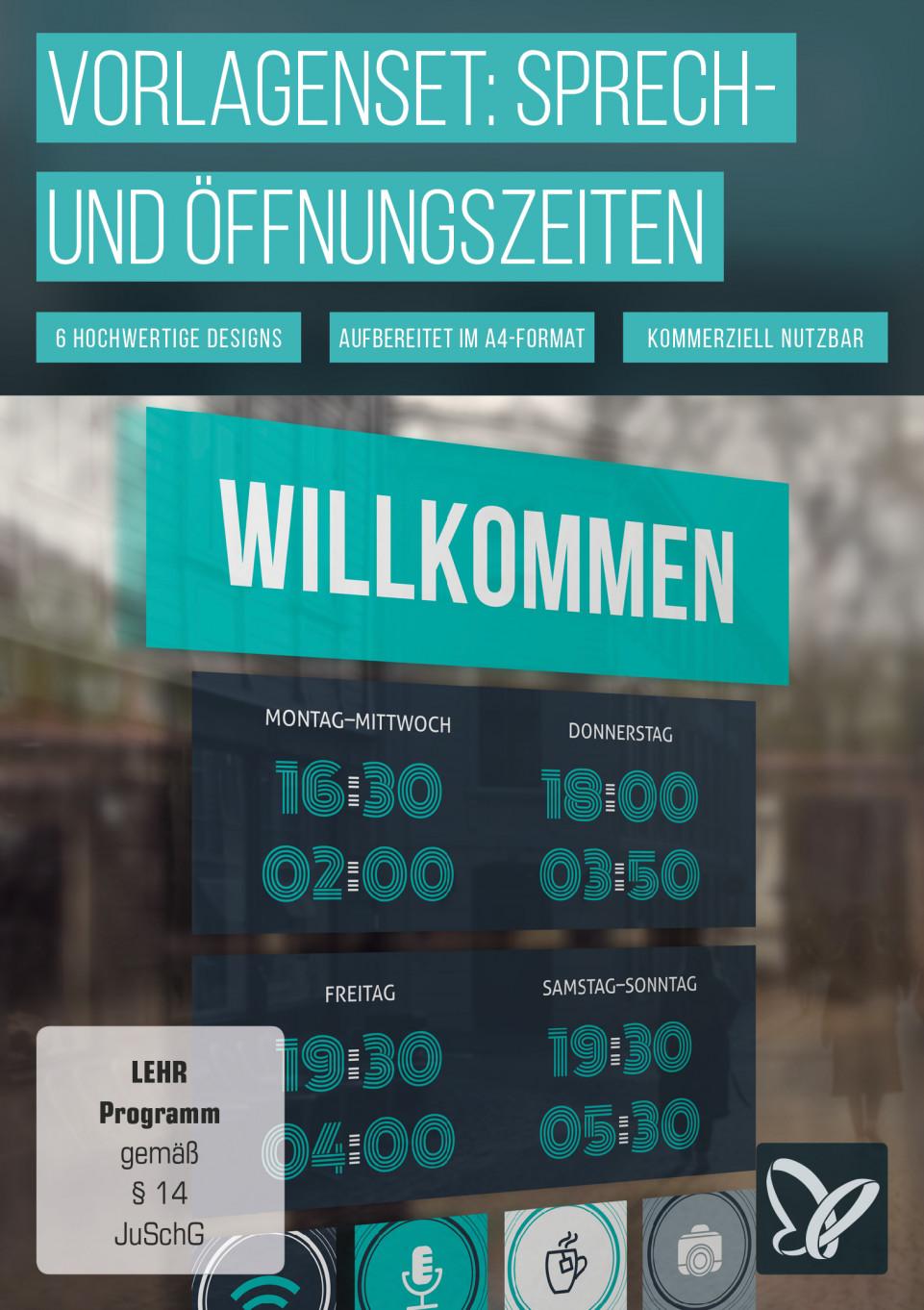 Öffnungszeiten: Vorlagen für Schild & Aushang