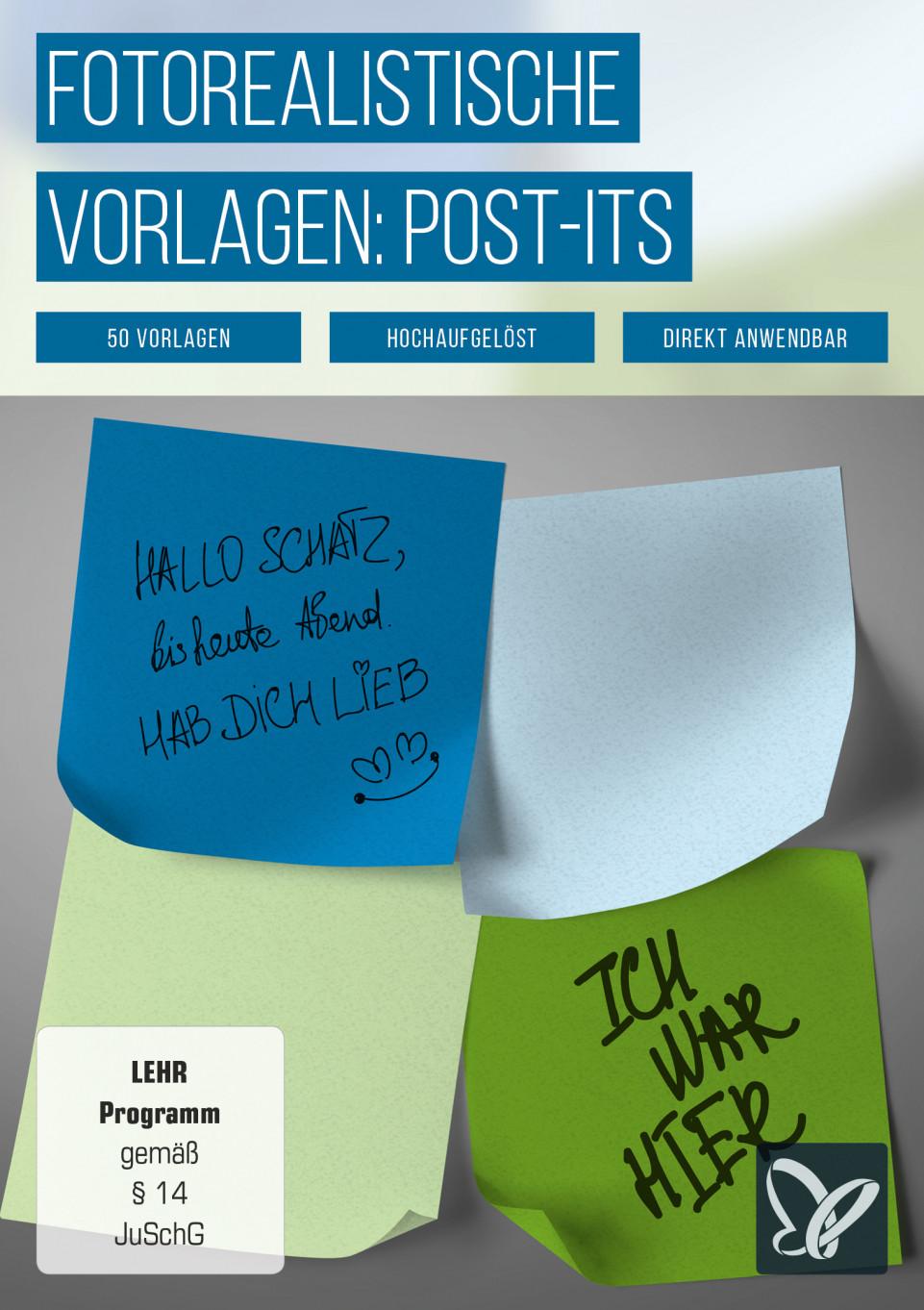 Post-it-Bilder – fotorealistische Vorlagen von Klebezetteln/Notizzetteln
