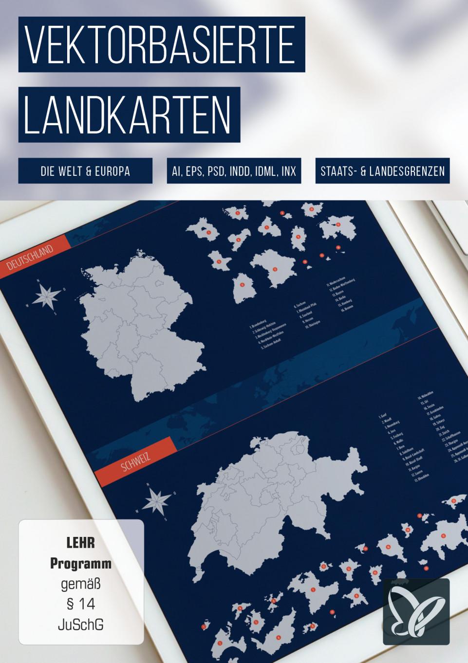 Vektorbasierte Landkarten: Welt, Europa, Deutschland, Österreich, Schweiz