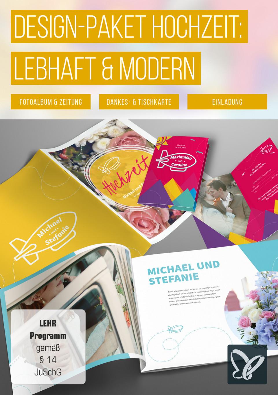 Design-Paket für die perfekte Hochzeit: lebhaft & modern