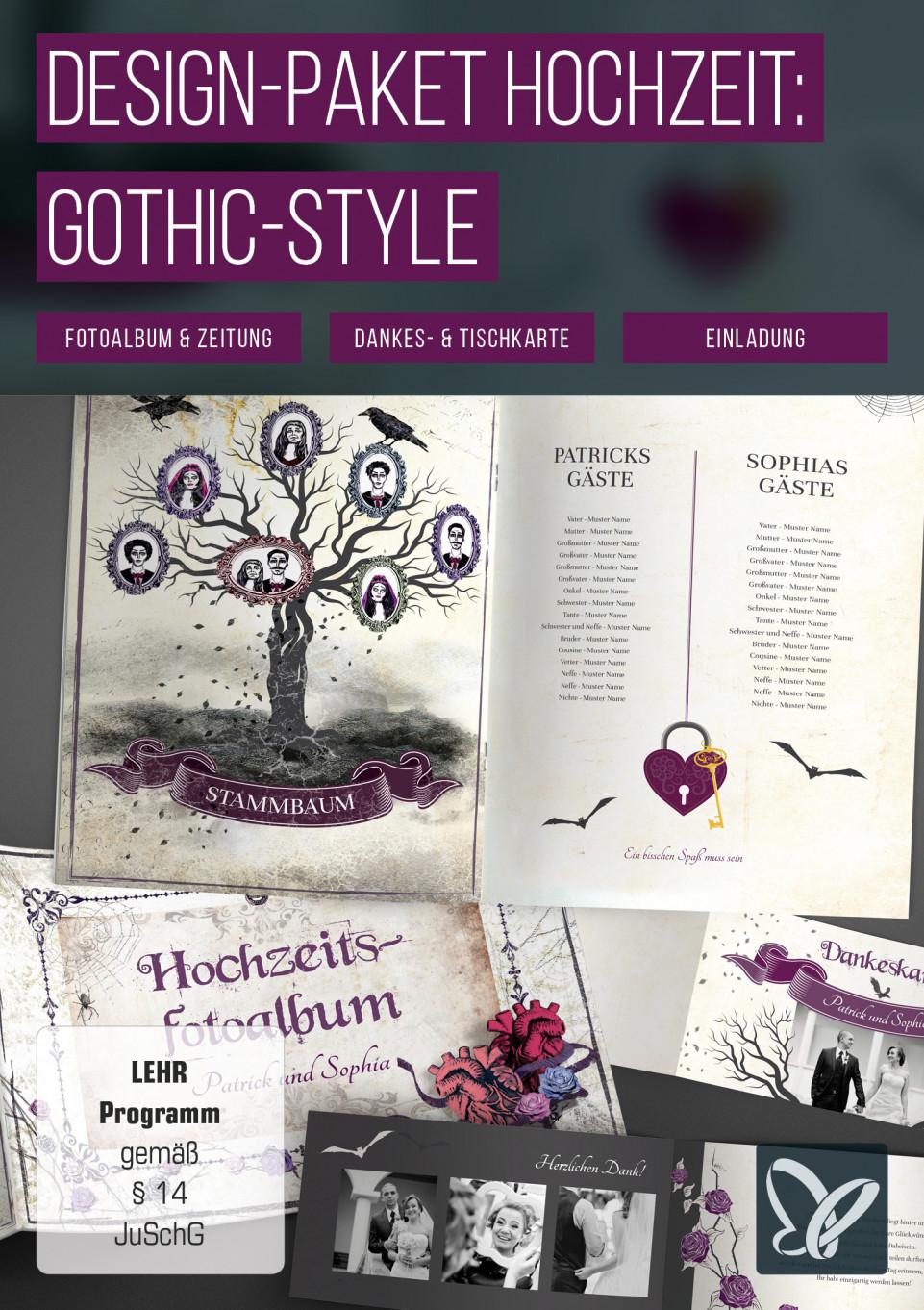 Vorlagen Gothic- & Grufti-Hochzeit in Schwarz: Hochzeitseinladungen & Co