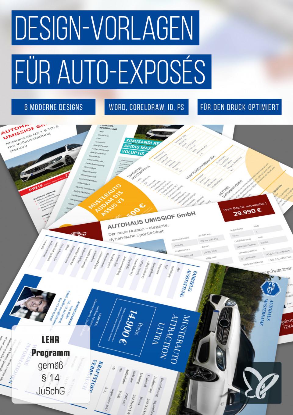 Design-Vorlagen für Auto-Exposés