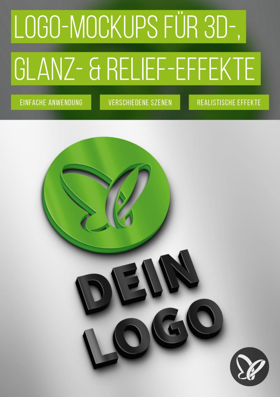Logo-Mockups für 3D-, Glanz- und Relief-Effekte