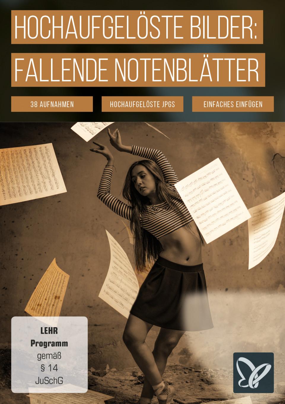 Bilder für deine Composings: alte Notenblätter, fallende Blätter