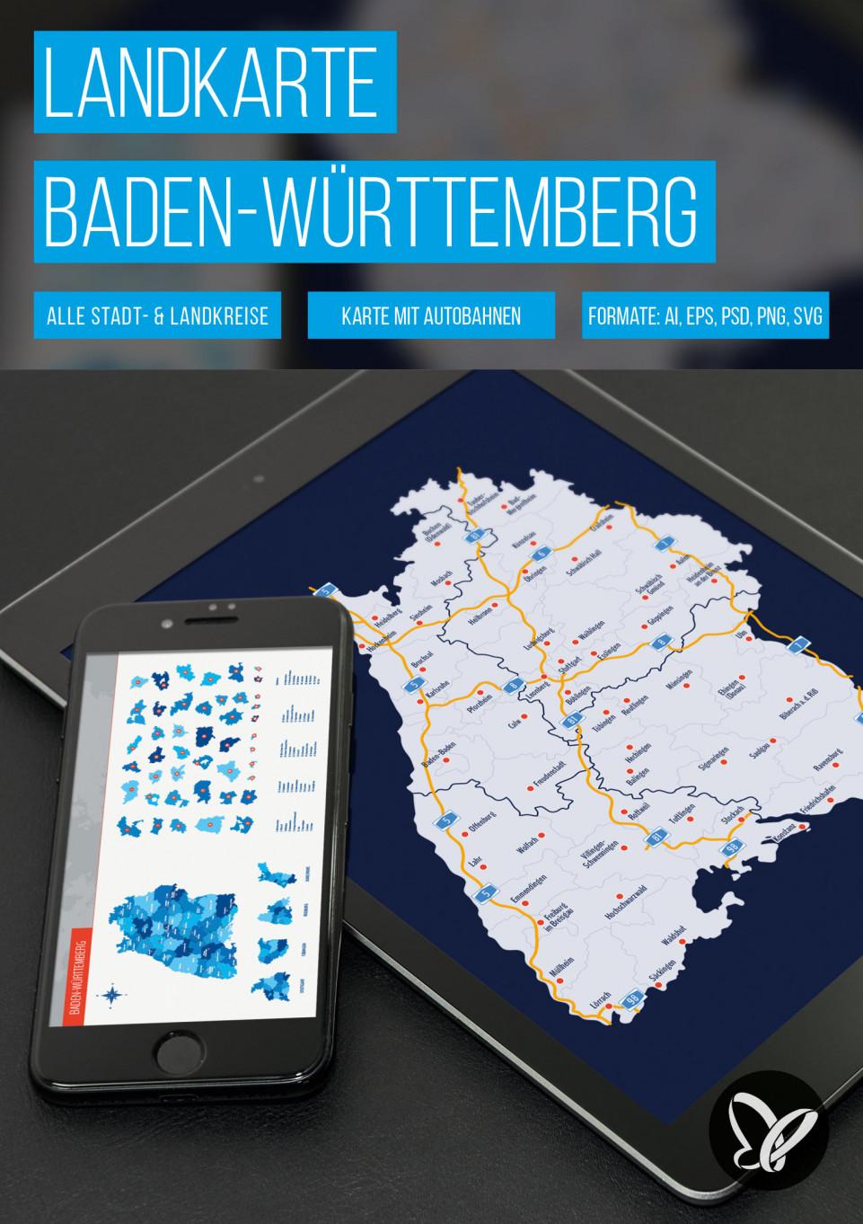 Landkarte Baden-Württemberg mit Landkreisen