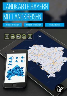 Landkarte Bayern mit Landkreisen