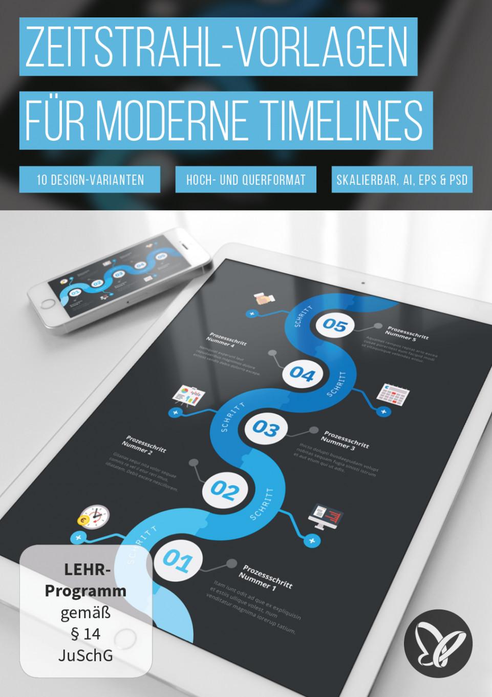 Zeitstrahl-Vorlagen: Moderne Timelines erstellen