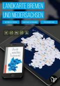 Landkarte Niedersachsen und Bremen mit Landkreisen