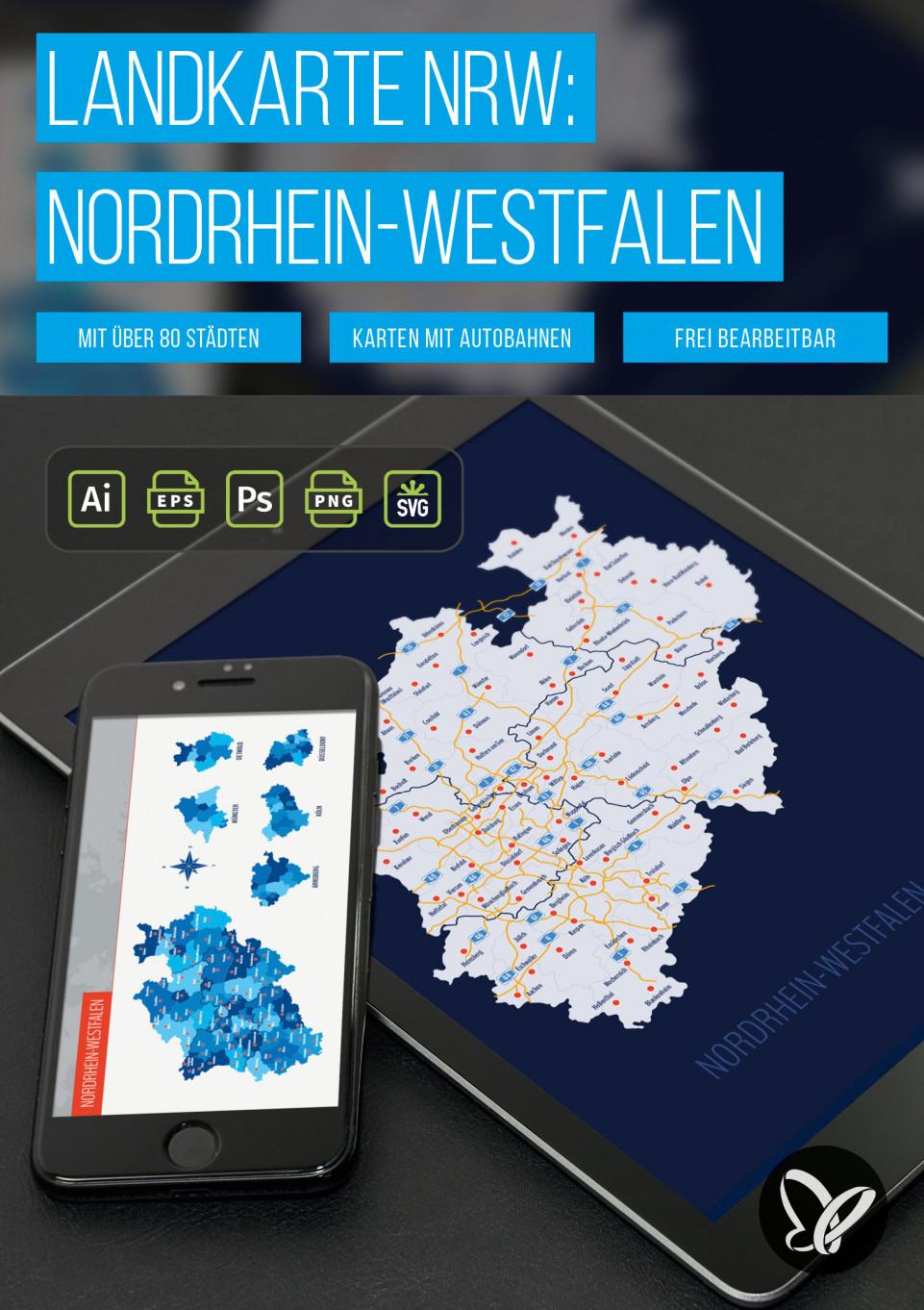 Landkarte NRW: Nordrhein-Westfalen mit Landkreisen