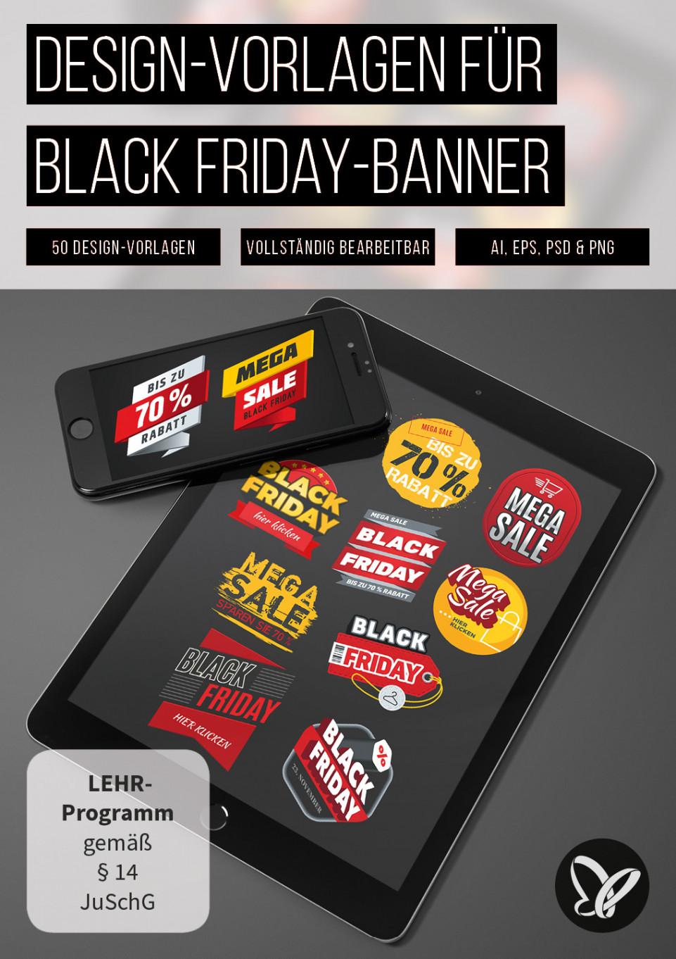 Vorlagen für Black Friday-Banner – Rabatte und Angebote bewerben