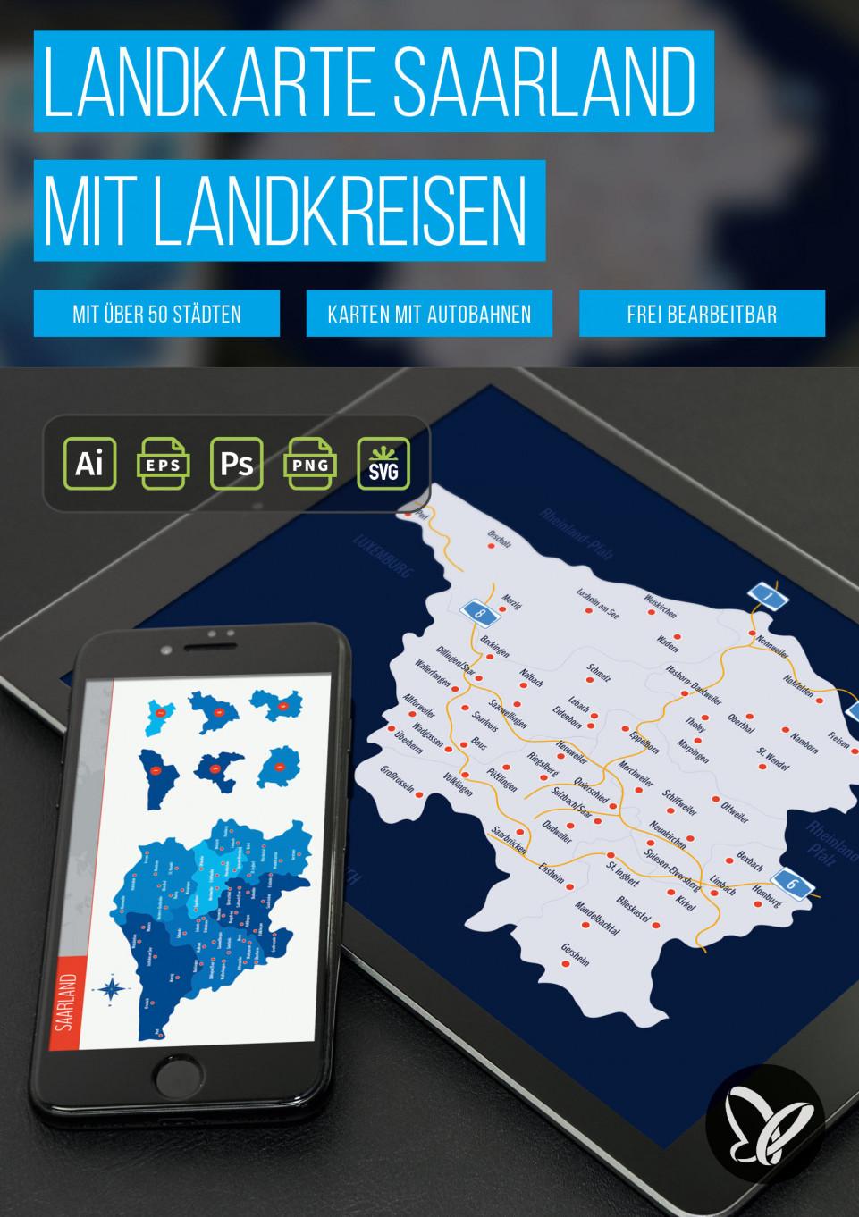 Landkarte Saarland mit Landkreisen