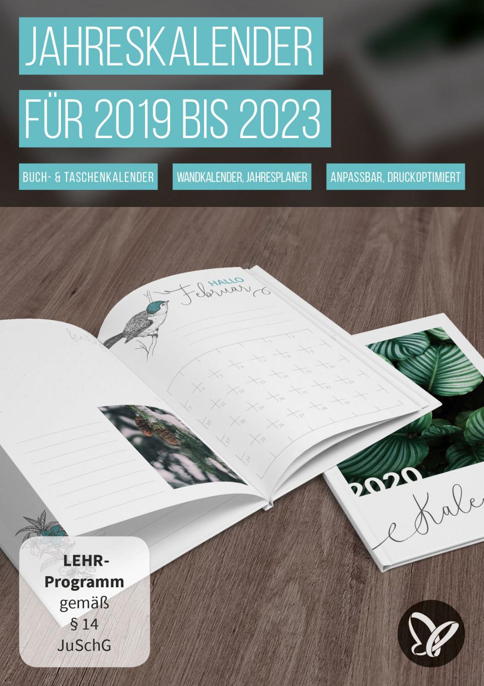 Jahreskalender 2019/2020/2021 bis 2023 zum Ausdrucken
