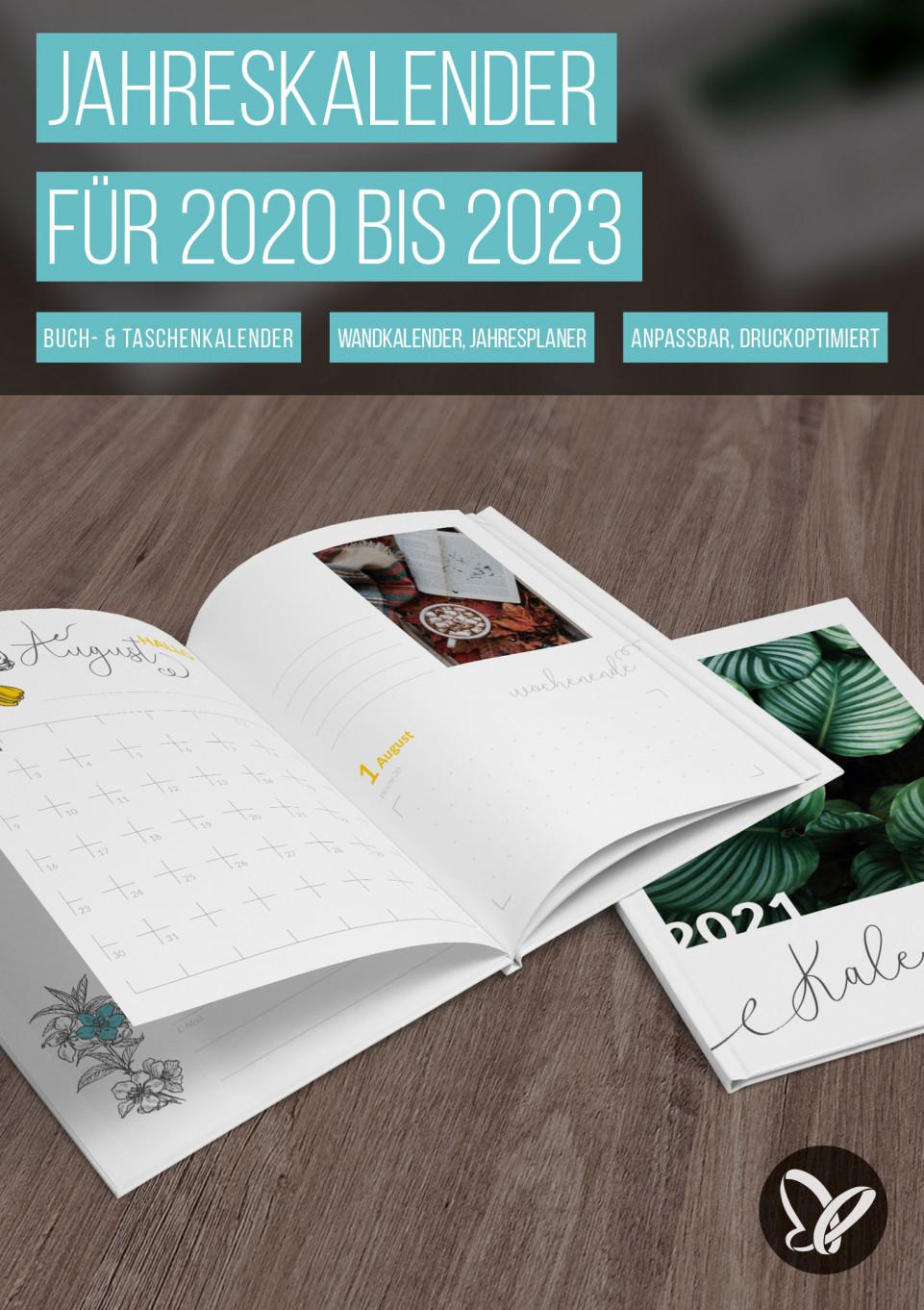 Jahreskalender 2020, 2021, 2022 und 2023 zum Ausdrucken