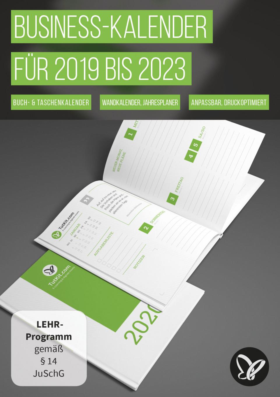 Personalisierte Business-Kalender für 2019/2020/2021 bis 2023
