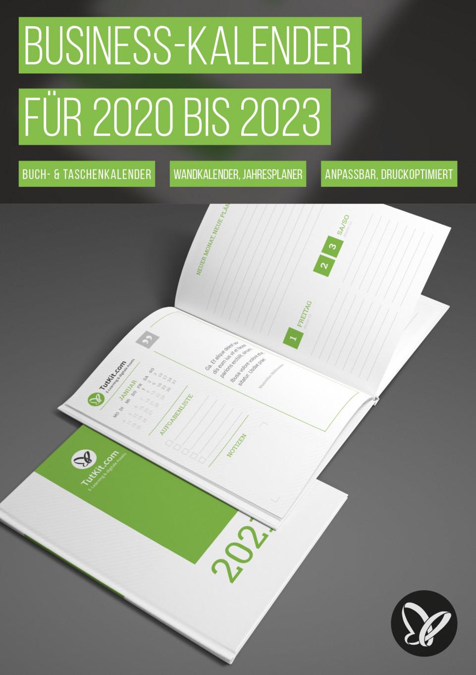 Personalisierte Business-Kalender für 2020, 2021, 2022 und 2023