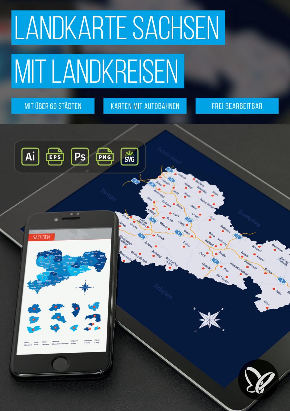 Landkarte Sachsen mit Landkreisen