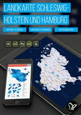 Landkarte Schleswig-Holstein mit Kreisen sowie Hamburg