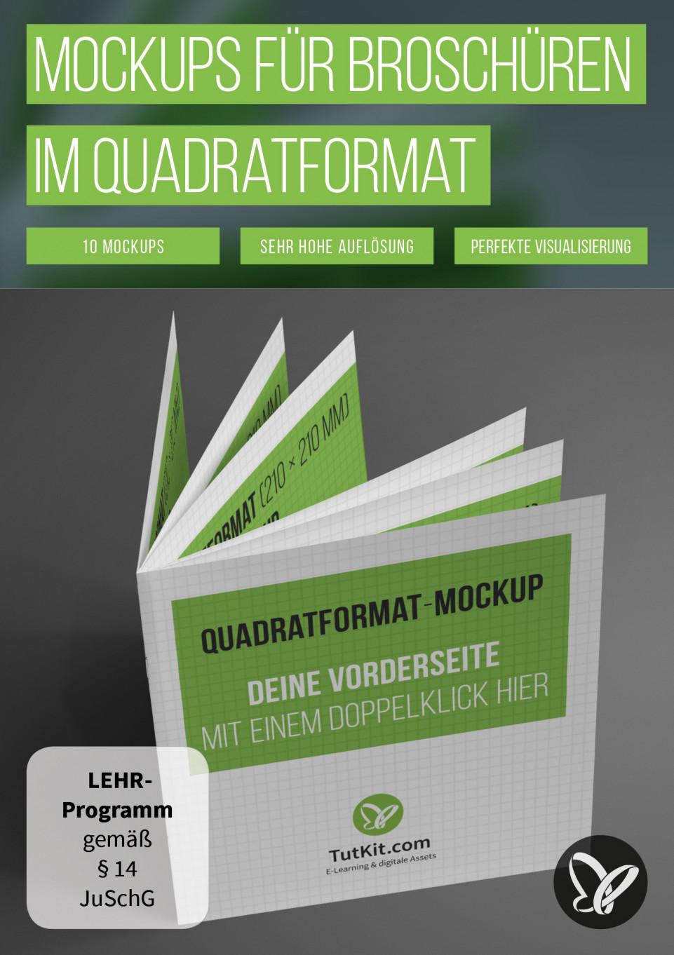 Mockups für Broschüren im Quadratformat