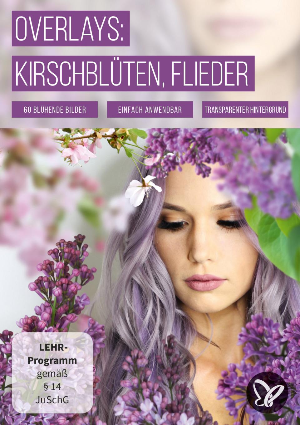Bilder mit rosa Kirschblüten und lila Flieder vor transparentem Hintergrund