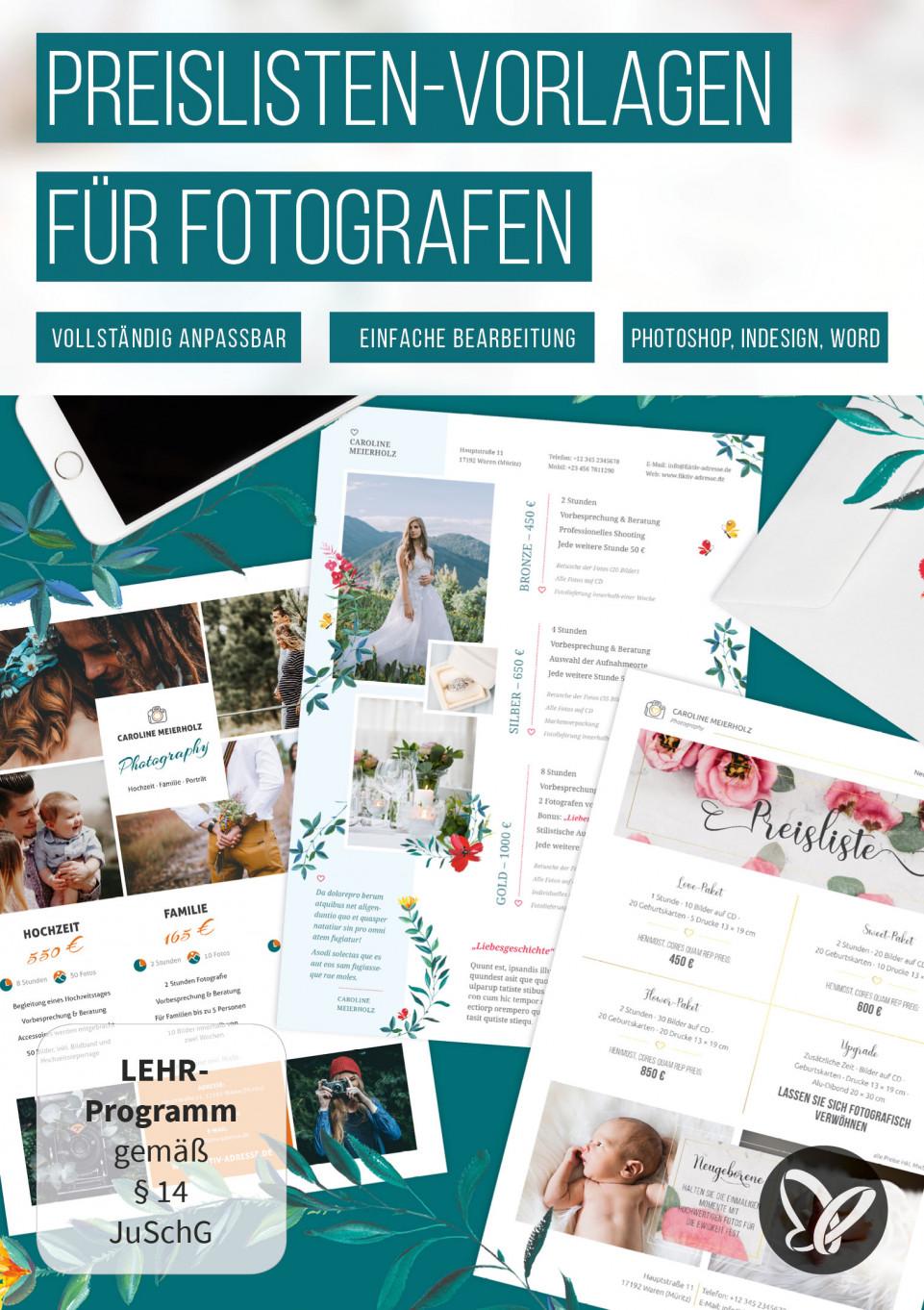 Preislisten-Vorlagen für Fotografen – Photoshop, InDesign und Word