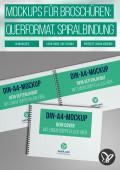 Mockups für Hardcover-Broschüren im Querformat mit Spiralbindung