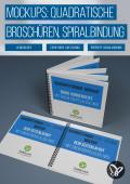 Mockups für quadratische Hardcover-Broschüren mit Spiralbindung