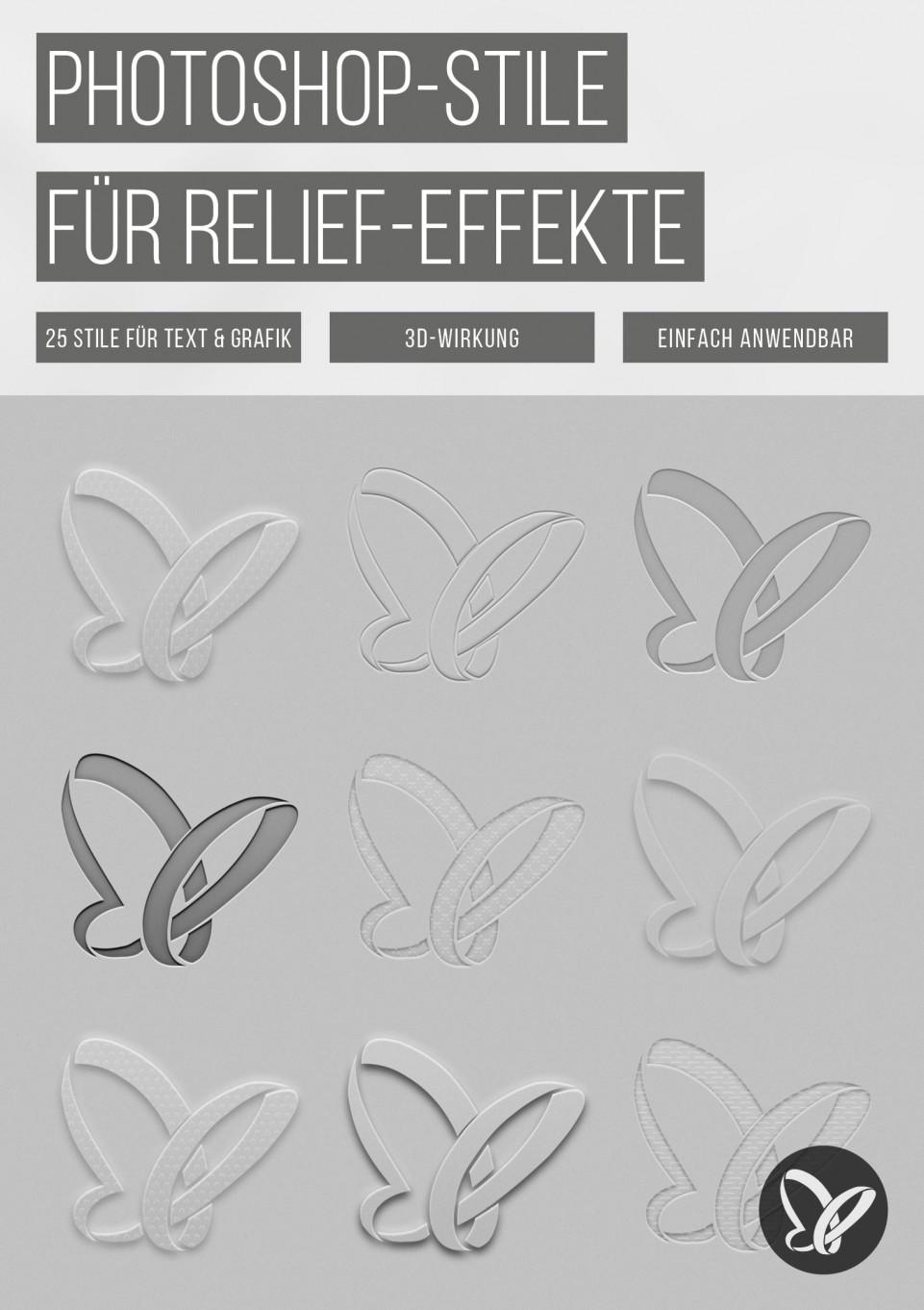 Photoshop-Stile: Transparenz, Relief und Prägung für Texte und Grafiken