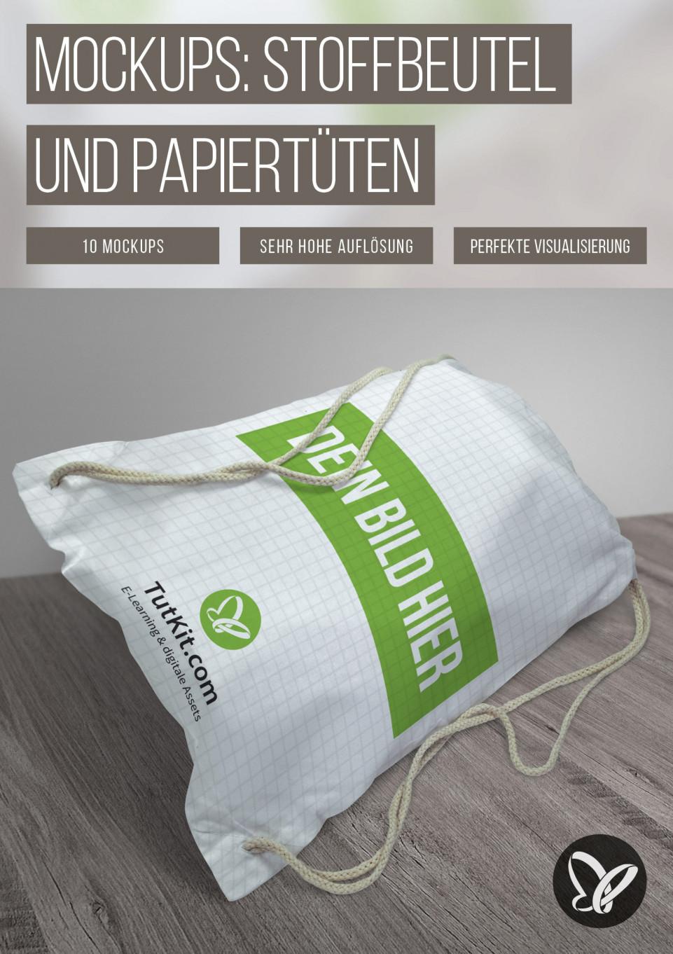 Mockups für Papiertüten und Stoffbeutel