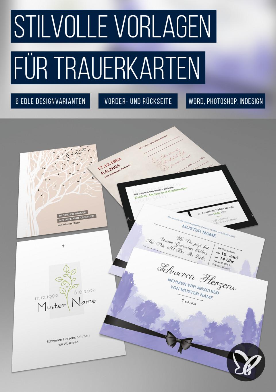 Trauerkarten-Vorlagen für Einladungen zu Beerdigung und Trauerfeier