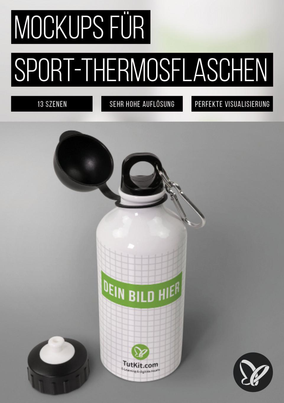 Mockups für Sport-Thermosflaschen, Isolierflaschen
