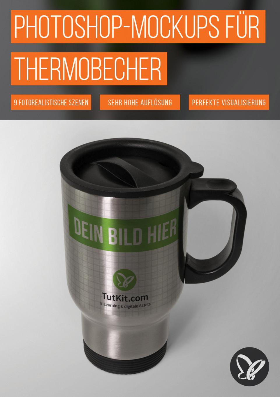 Photoshop-Mockups für Thermobecher und Thermostassen
