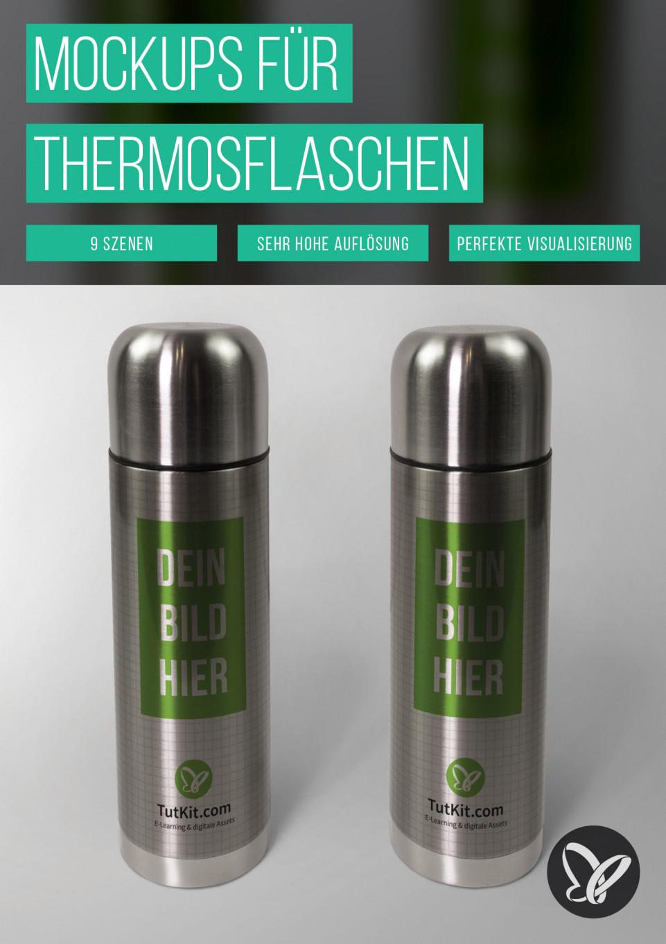Photoshop-Mockups für Thermosflaschen