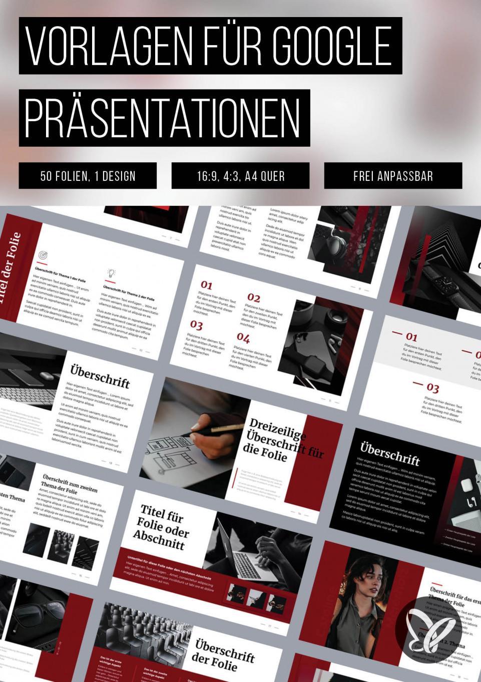 Google Präsentationen: Vorlagen in klassischem Rot und Weiß