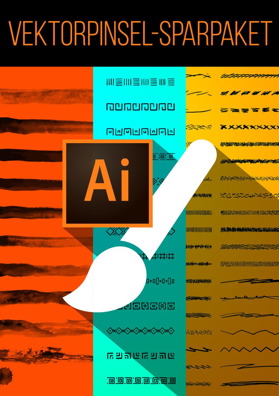 Sparpaket: Über 200 Vektorpinsel für Adobe Illustrator zum Download