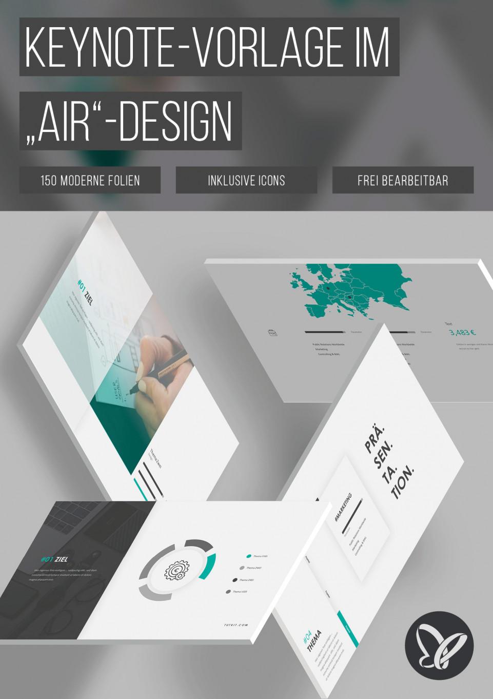 """Keynote: 150 Folien-Vorlagen im """"Air""""-Design"""