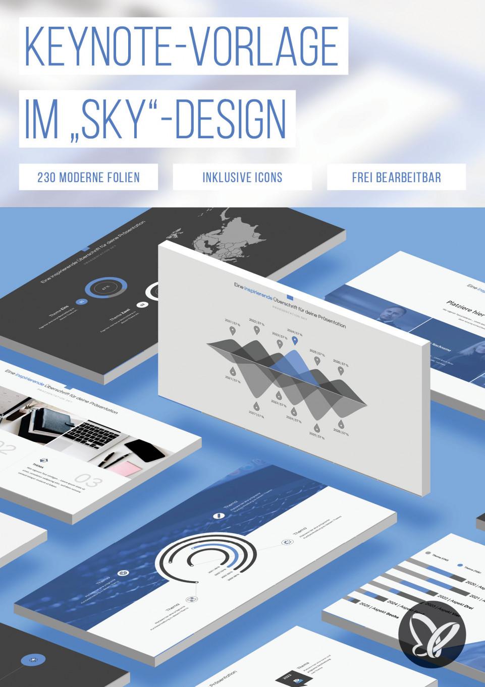 """Design """"Sky"""": 230 Layouts für Keynote-Präsentationen"""