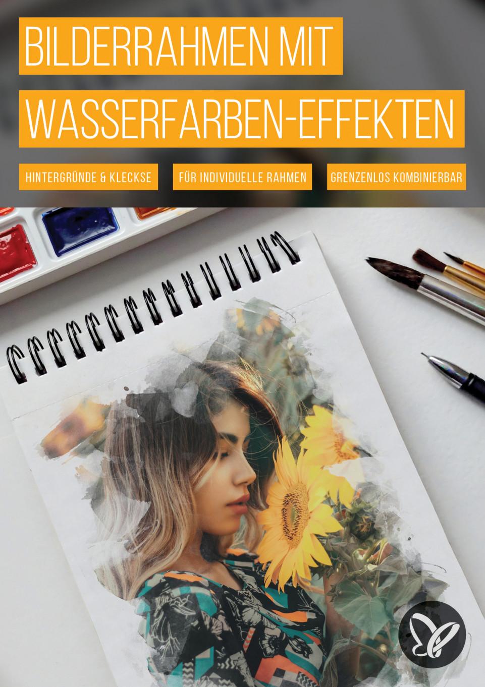 Kreativ-Set: Portrait-Bilderrahmen mit Wasserfarben-Effekten für Photoshop & Co.