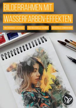 Portrait-Bilderrahmen mit Wasserfarben-Effekten für Photoshop & Co.