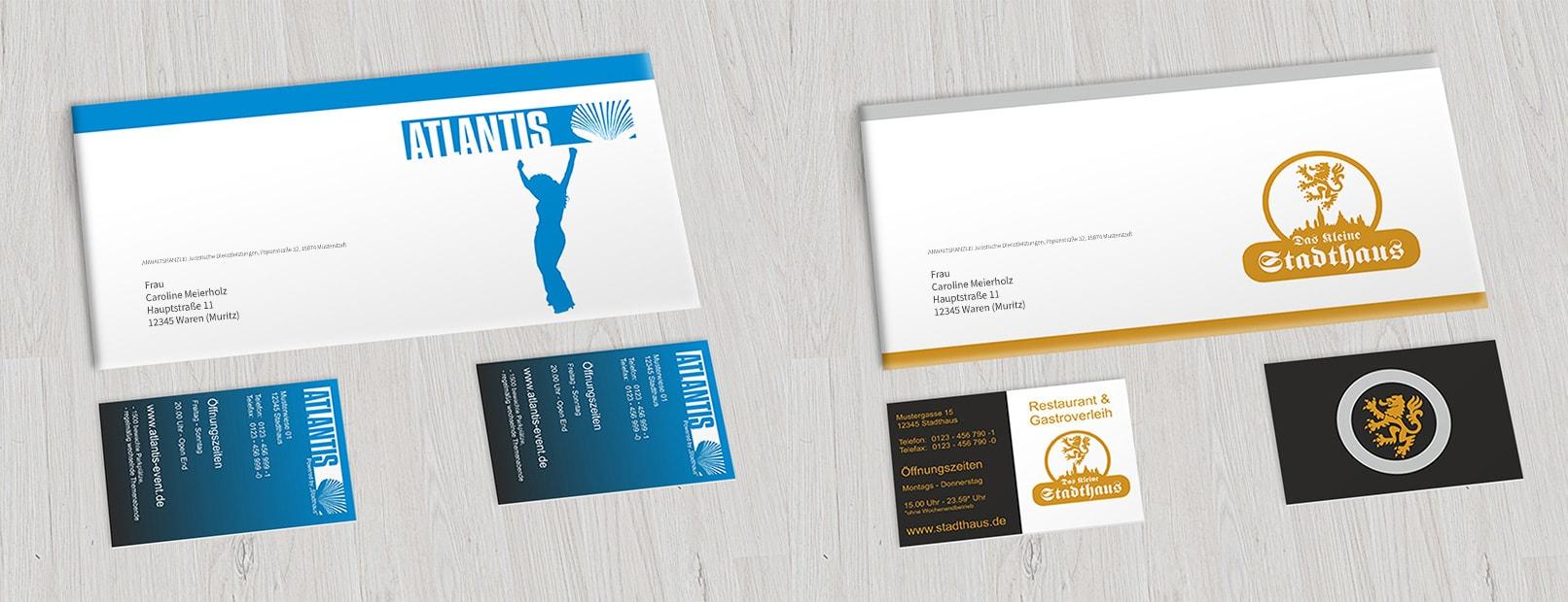 Visitenkarte und Flyer, erstellt im CorelDRAW-Tutorial