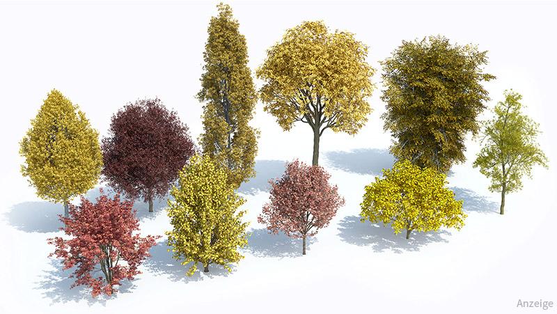 3D Bäume aus dem Lauberk Plants Kit 6, jeder Baum detailliert aufbereitet